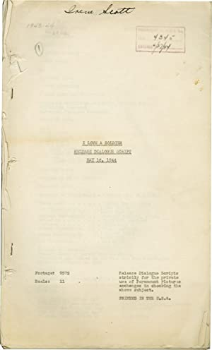 I Love a Soldier (Post-production script for the 1944 film): Sandrich, Mark (director, producer); ...