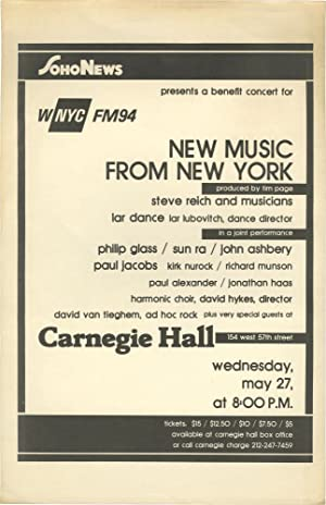 Soho News Presents a Benefit Concert for WNYC FM94: New Music from New York: Page, Tim (curator); ...