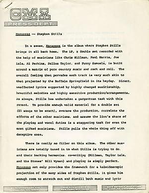 1972 Press material for Manassas' Debut Album: Stills, Stephen]