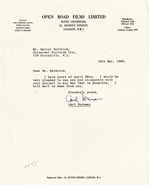 Typed letter signed from Carl Foreman to Daniel Selznick, 1968: Foreman, Carl (screenwriter); ...