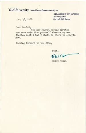 Typed Letter Signed from Erich Segal to Daniel Selznick, 1968