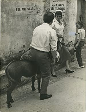 Antonella Lualdi and her donkey (Vintage press photograph)