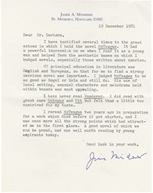 Typed letter signed from James Michener, discussing the influence of Frank Norris'