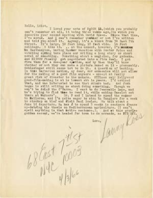 Typed Letter Signed regarding Midnight Cowboy: Herlihy, James Leo