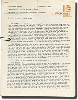 Bill Moyers' Journal: Lillian Hellman (Original transcript for the two-part television series)...