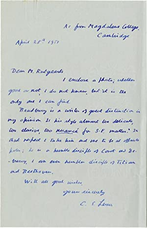 Autograph letter signed by C.S. Lewis from 1951, discussing the author's reaction to young ...