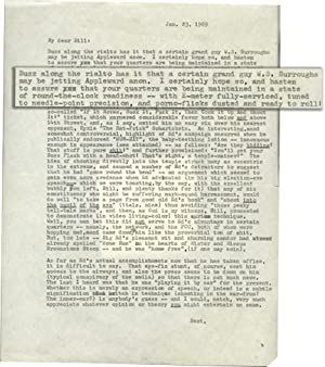 Letter to William Burroughs from Terry Southern (One page typescript letter)