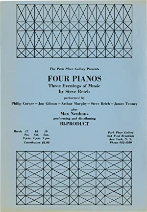 Four Pianos: Three Evenings of Music by Steve Reich at Park Place Gallery in New York City (Origi...