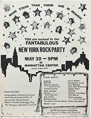 Fantabulous New York Rock Party, Manhattan Center in New York, May 30, 1976 (Original poster for ...