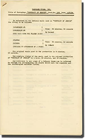 Portrait of Jennie (Post-production Music Timing script for the 1949 film)