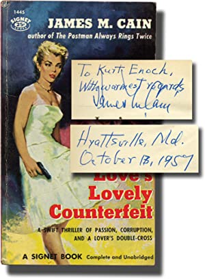 Love's Lovely Counterfeit (First Edition in paperback, inscribed to Signet Books founder Kurt Enoch)