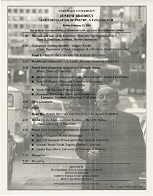 Stanford University: Joseph Brodsky - And Circulation of Poetry: A Colloquium (Original Poster)