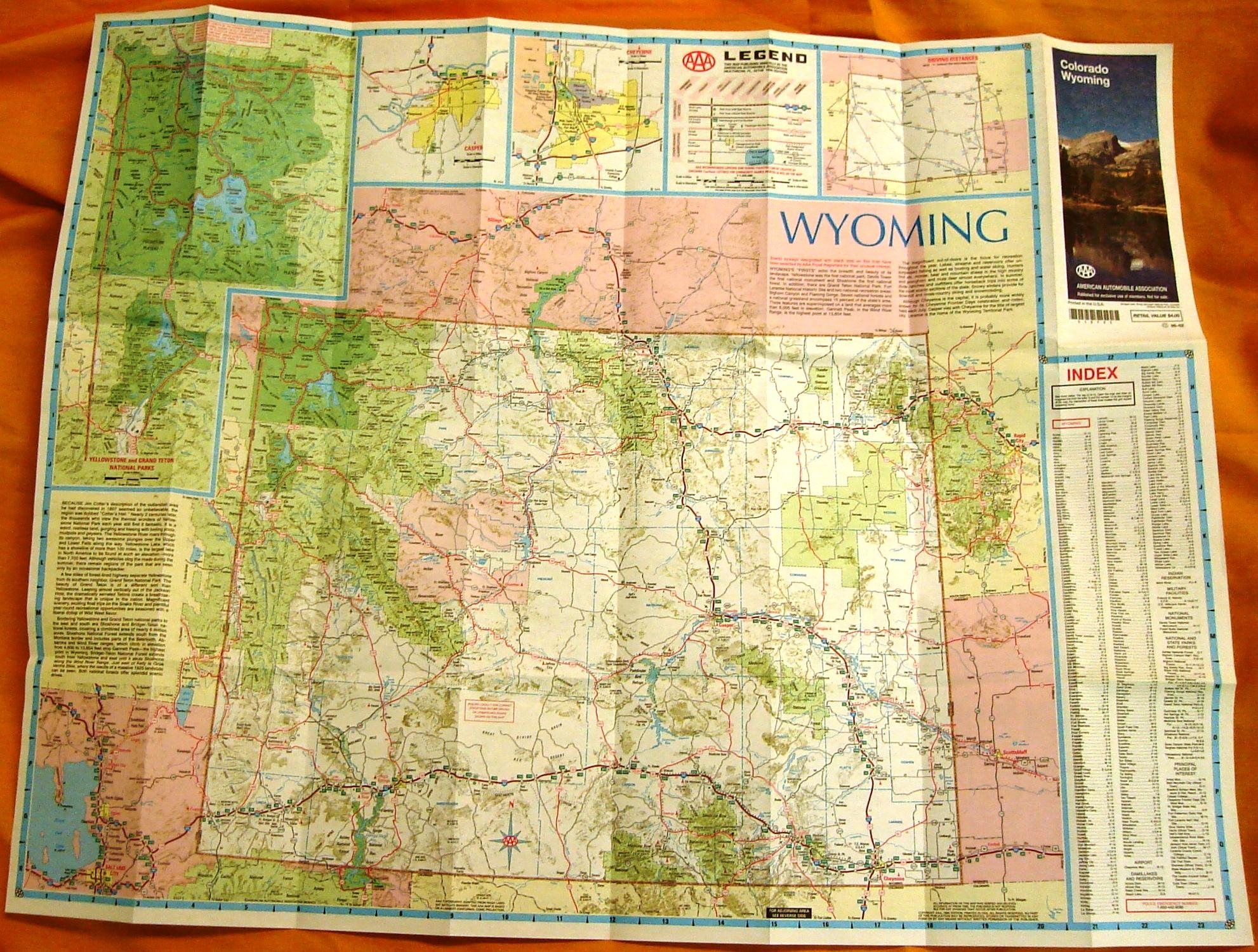 AAA Colorado/Wyoming Road Map 1995
