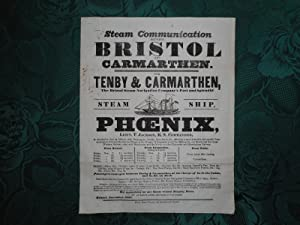 Original 1845 Printed Broadside for the Bristol Steam Navigation Company. Steam Communication bet...