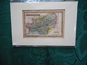 Small Hand-Coloured Engraved Map of CARMARTHENSHIRE - a Wallis/reid 'miniature' Map from 'the Pan...