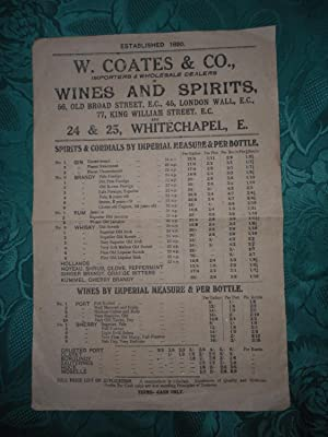 W. Coates & Co. , Wines and Spirits Poster