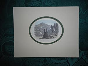 PENRHYN SLATE QUARRIES - An Original Antique Vignette Steel Engraving.