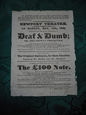 NEWPORT THEATRE. Deaf & Dumb; Or. the Orphan Protected. an ORIGINAL THEATRE Poster/ Theatre Bill ...