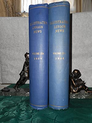 Illustrated London News - FULL YEAR 1954 (NO Specials) Bound in 2 Hardback Volumes. Slightly AF -...