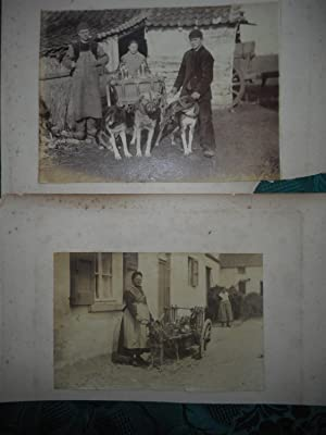 TWO Antique Photographs c. 1890s of People with Dog Carts (Dogcarts) . Milk Delivery Dog Carts
