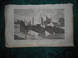 View of the Castle and Bridge of Haverford-West in Pembrokeshire. An Original Antique Copper Engr...