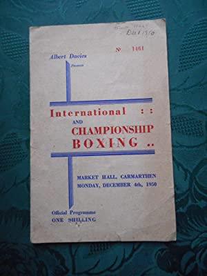 Programme for International & Championship Boxing Including the Heavyweight Contest between Tommy...