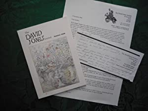 The David Jones Journal Summer 2000. Volume II. No. 1. Together with a Hand-Written Note from the...