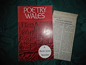 Poetry Wales Winter 1972 Volume 8 Number 3. A DAVID JONES Number Arthur Giardelli's 2nd Copy