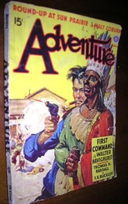 Adventure Magazine April 1942 covered painted by R.R. Lougheed: Walt Coburn, Thomas Raddall, ...