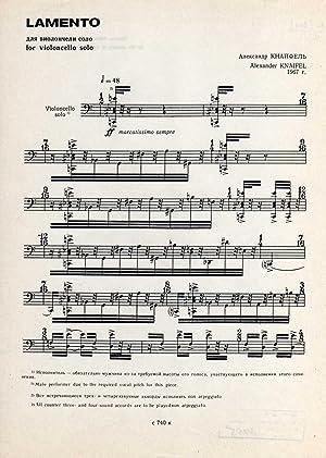 Lamento - for Violoncello Solo (1967) [SCORE]: Knaifel, Alexander