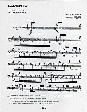 Lamento - for Solo Cello (1967) [SCORE]: Knaifel, Alexander
