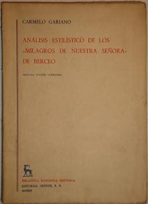 """Analisis estilistico de los """"Milagros de Nuestra Señora"""" de Berceo: Gariano, ..."""