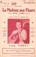 """Partition de """"La Madone aux fleurs"""", """"chanté: MARTEL, Jacques et"""