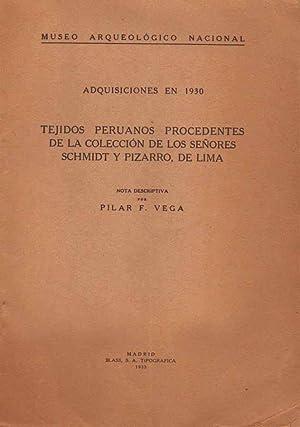 Tejidos peruanos procedentes de la colección de los señores Schmidt y Pizarro, de ...