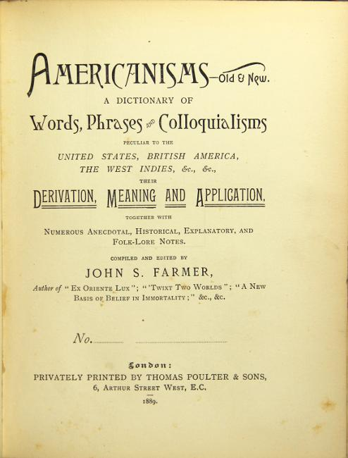 Americanisms old & new  A dictionary of