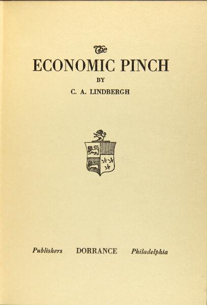 The economic pinch: Lindbergh, Charles A., Sr