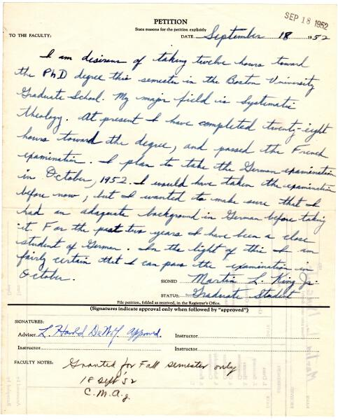 Two early letters from his graduate school days in Boston: King, Martin Luther, Jr.