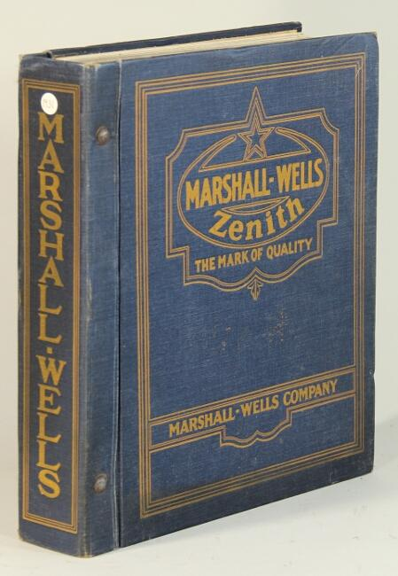 Complete general catalogue of Marshall-Wells Company Marshall-Wells Co [ ] [Couverture rigide] Large 4to, erratic pagination (approx. 1800 pages); illustrated throughout; original green cloth lettered in yellow on covers and spines; post-bound; very good and sound. One-stop shopping for shop and farm tools, agricultural and mill supplies, hardware, building supplies paint and glass, electrical goods, radio equipment, furniture, house furnishings, stoves and ranges, heating and plumbing supplies, mining and railway supplies, sporting goods, auto accessories, tents and awnings, saddles and harnesses, bags and trunks, etc.