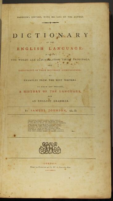 A dictionary of the English language: in