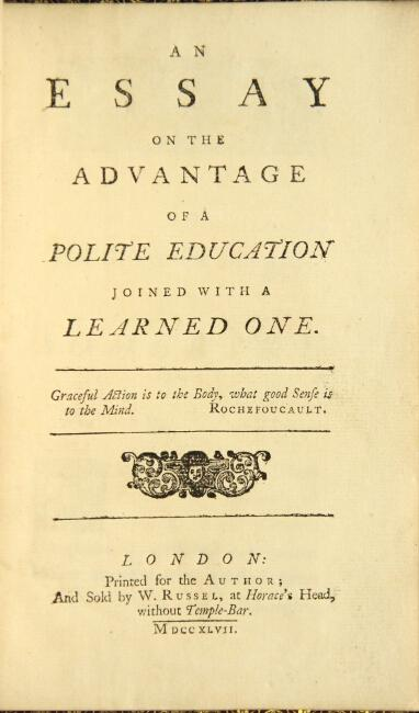 An essay on the advantage of a polite education joined with a learned one: [Philpot, Stephen.]