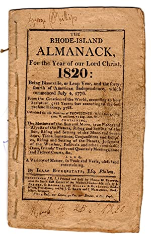 The Rhode-Island almanack, for the year of Our Lord Christ 1820: Bickerstaff, Isaac