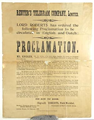 Lord Roberts has ordered the following proclamation to be circulated in English and Dutch: Procla...