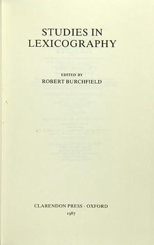 Studies in lexicography: Burchfield, Robert, ed.