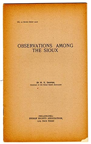 Observations among the Sioux [cover title]: Sniffen, M.K.