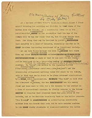 """Typescript manuscript of the essay """"The Many Faces of Henry Kuttner,"""" heavily corrected ..."""