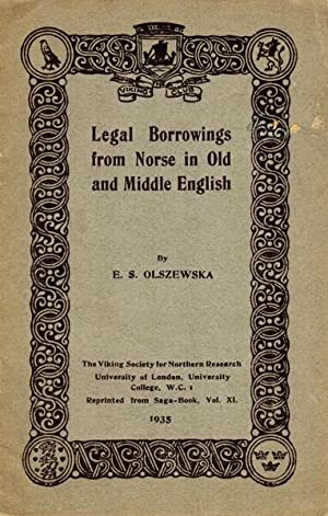Legal borrowings from Norse in Old and Middle English [cover title]