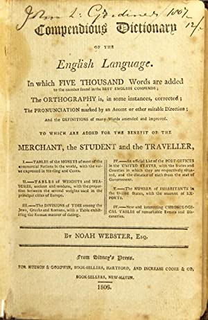 A compendious dictionary of the English language.: Webster, Noah