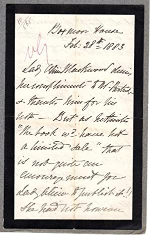 Unsigned autograph letter written in the third person and addressed to publisher Mr. Partridge: ...