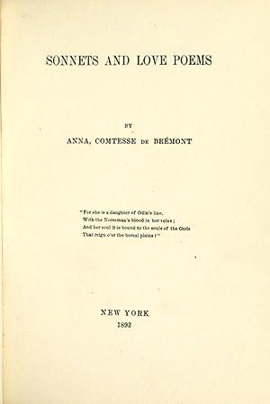 Sonnets and love poems: Brémont, Anna comtesse de