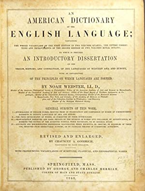 An American dictionary of the English language;: Webster, Noah
